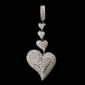 JOHN ATENCIO DIAMOND, 18K WHITE GOLD HEART PENDANT.