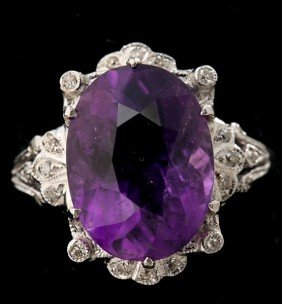 AMETHYST, DIAMOND, 18K WHITE GOLD RING.
