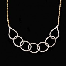 DIAMOND, 14K GOLD NECKLACE.