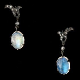 MOONSTONE, DIAMOND, 14K Y/G, S/S EARRINGS.