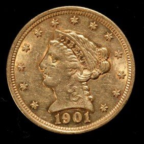 United States $2 1/2 Gold Coin, 1901, AU.