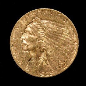 United States $2 1/2 Gold Coin, 1929, AU.