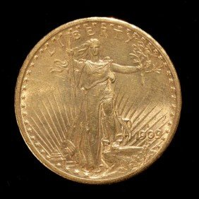 United States $20 Gold Coin, 1909-S, AU.