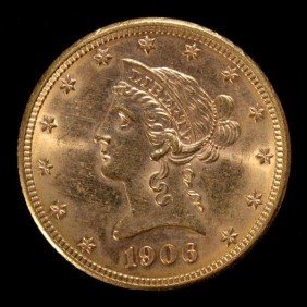 United States $10 Gold Coin, 1906-D, AU.