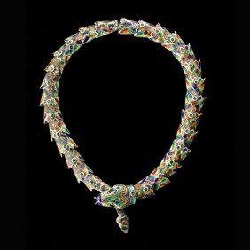ENAMEL, STERLING SILVER SNAKE NECKLACE.