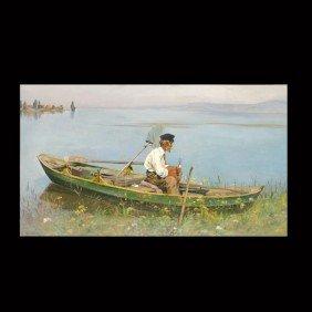"""Eugen Dukker """"Oil Man In Rowboat"""" Oil"""