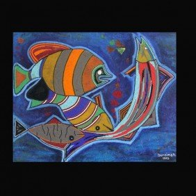 "Jimoh Buraimo ""Fishes In The Ocean"" Acrylic"