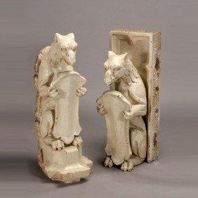 Pair Of Renaissance Style Stoneware Griffins