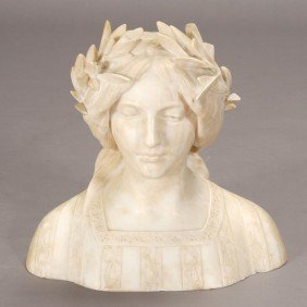 Italian Marble Bust Of Young Girl