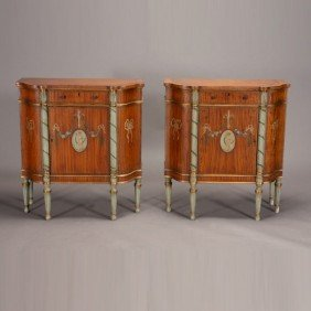 Pair Of Empire Inlaid Satinwood Cabinets