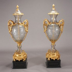Pr  Monumental Gilt Bronze Glass Vases