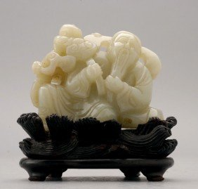A Jade Carving Of A Figural Group