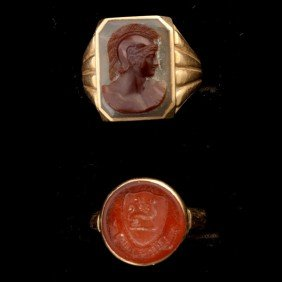 COLLECTION OF TWO CARNELIAN, 14K YELLOW GOLD RINGS.