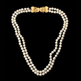 CULTURED PEARL,14K Y/G, TURQUOISE NECKLACE.