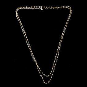 DIAMOND, 18K WHITE GOLD NECKLACE.