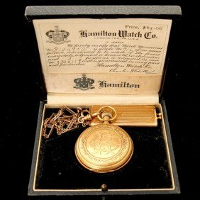 ELGIN 18K Y/G POCKET WATCH WITH CHAIN & CASE.