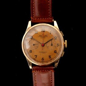 BREITLING 18K ROSE GOLD CHRONOGRAPH WRISTWATCH.