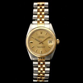 ROLEX DATE JUST TWO TONE MID-SIZE WRISTWATCH.