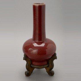 A Flambe-Glazed Long Neck Porcelain Vase, 19th C.