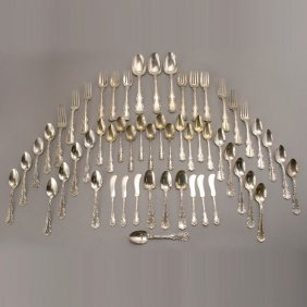 55 Pieces Whiting Louis XV Sterling Flatware