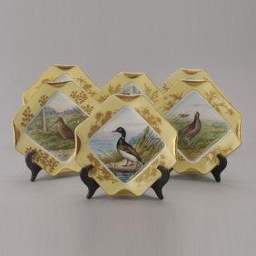 Set Of Six Limoges Handpainted Bird Plates