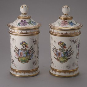 Pair Of Painted Porcelain Apothecary Jars