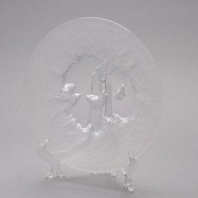20th Century Swedish Frosted Art Glass Dish