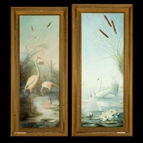 "2 Works ""Water Birds"" Oil"