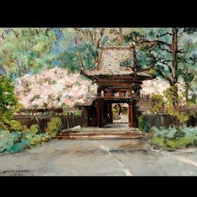 """Carlton Zimmer """"Japanese Tea Garden"""" Oil"""