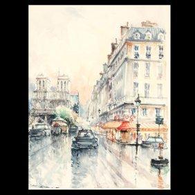 "STEPHANE WROBEL ""Noel District, Paris"" Watercolor"