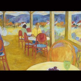 "20th Century   ""Outdoor Cafe""   Oil On Canvas"