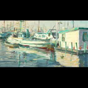 "REYNOLD BROWN  ""Harbor Scene""   Oil"