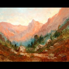 "TILDEN DAKEN    ""Mountain Landscape At Sunset"""