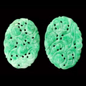 COLLECTION OF TWO CARVED JADE PLAQUES.