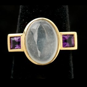 JADE, AMETHYST, 18K YELLOW GOLD RING.
