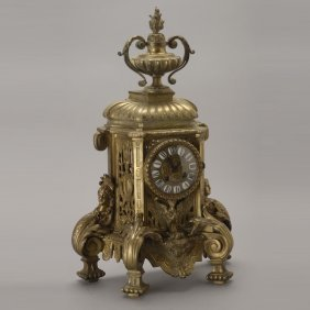 French Louis XVI Style Gilt Brass Bracket Clock