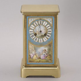 Sevres Style Gilt Metal Porcelain Carriage Clock