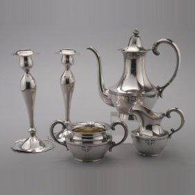 Arts & Crafts Shreve Tea Set And Pr Candlesticks