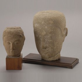 Two Thai Sandstone Buddha's Heads, 18th C