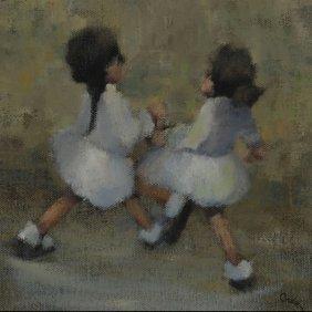 """Leonard Creo """"2 Girls"""" Oil"""