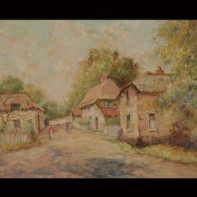 """FRANCES H. MCKAY  """"Maine Cottages""""  Oil On Canvas"""