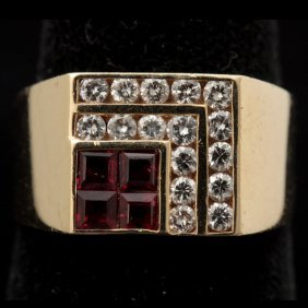 GENTLEMAN'S RUBY, DIAMOND, 14K YELLOW GOLD RING.