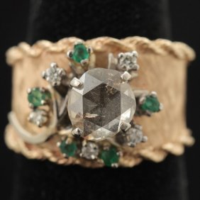 DIAMOND, EMERALD, 14K GOLD FLOWER MOTIF RING.