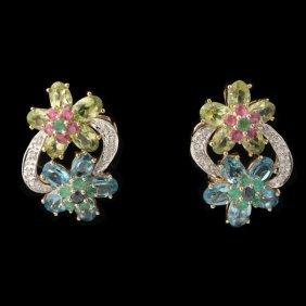 PAIR OF MULTI-STONE, DIAMOND, 14K Y/G EARRINGS.