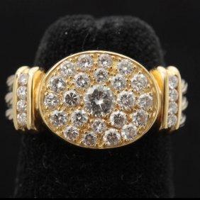 DIAMOND, 18K TWO TONE GOLD RING.