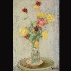 "JEAN VINAY  ""Roses Jaunes Et Rouges"" Oil"