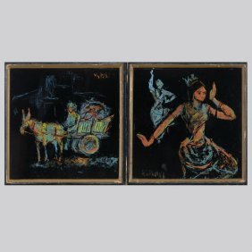 MASOOD KOHARI  Two Works Enamel On Tile