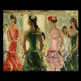 "Pascal Cucaro ""Ladies On The Balcony"" Oil"
