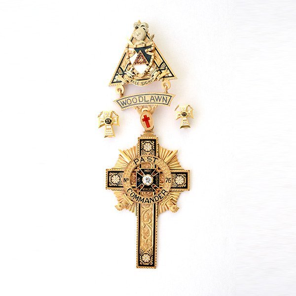 Enamel 14k Yellow Gold Knights Templar Medal Lot 180