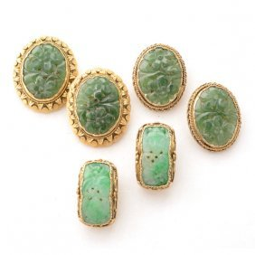 Collection Of Three Pairs Of Asian Jade, Silver-gilt
